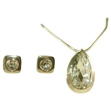 Vintage Haute Couture LANVIN PARIS 60's Headlight Stones Iconic Pendant Necklace, Earring Set