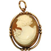Left Facing Carved Shell Antique Bezel Set Cameo Locket & Pendant
