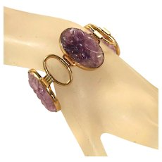 Large Carved Amethyst & Gold Filled Signed Engel Brothers Vintage Bracelet