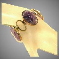 Large Carved Amethyst & Gold Filled Signed Engel Brothers Vintage Bracelet