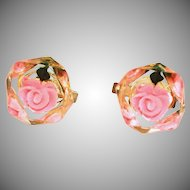Vintage Lucite Cubes with Embedded Pink Flowers, Women's Cuff Links
