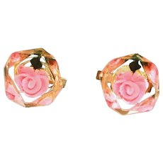 Vintage Lucite Cubes with Reverse Carved Pink Flowers, Women's Cuff Links