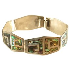 Mexican Sterling Silver Inlaid Abalone Signed Vintage Bracelet