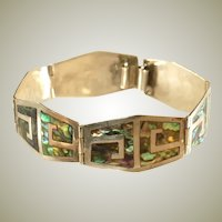 Mexican Sterling Silver Inlaid Abalone Vintage Bracelet, Signed