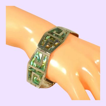 Mexican Sterling Silver Inlaid Abalone Signed Vintage Bracelet, Greek Key Design
