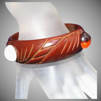 Deeply Carved Bakelite Vintage Milk Chocolate Chunky Bangle Bracelet with Adornments