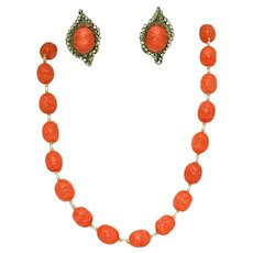Miriam Haskell Coral Art Vintage Glass Necklace, Earrings Set