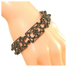 Striking Vintage MONET Black Lace Look Vintage Bracelet, Japanned Black Metal