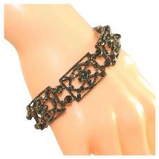Striking Vintage MONET Black Lace Look Vintage Bracelet, Japanned Black Metal