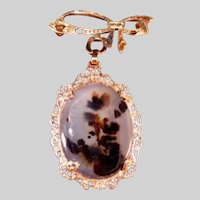 12k Gold Filled Moss Picture Agate Vintage Drop on Bow Pin, Signed