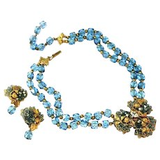 Gorgeous Blue Glass & Gold Leaf Unsigned Miriam Haskell Set
