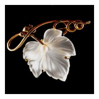 Vintage Carved Camphor Glass & Real Pearl Gold Vermeil on Sterling Silver Napier Pin, Brooch