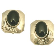 Large Native American Vintage Sterling Silver & Onyx Designer Signed Southwest Style Classic Clip Earrings