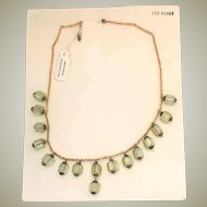 Original Vintage Czech Pale Yellow Glass Salesman Sample Fringe Necklace on Card
