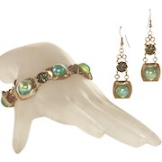 Stunning Peacock Glass Cabochons Vintage Bracelet & Pierced Earrings Set