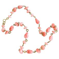 """Pink Art Glass Hand Crafted Beads & Hand Wired Brass Vintage 32"""" Necklace"""