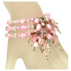 All Glass Vintage Wide Pink Memory Wire Wrap Bracelet with Dangles