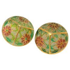 Large Over an Inch Plique a Jour Enameled Vintage Pierced Earrings