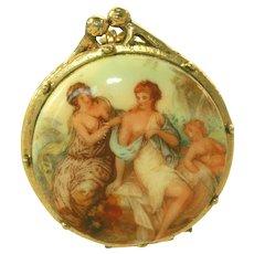 Vintage Solid Perfume, Neoclassical Women Transfer Portrait Pendant