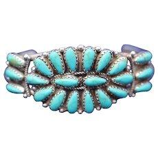 "Native American P Jones Signed Zuni Pettipoint Sterling Silver Vintage 6 ½"" Wrist Cuff Bracelet"