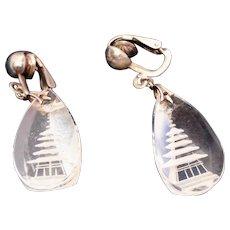 Rock Crystal Reverse Carved Pagoda Sterling Silver Clip Back Vintage Earrings