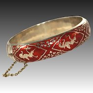 Stunning Red Enamel Vintage Wide Siam Sterling Silver Signed Hinged Bangle