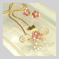 Vintage Signed M&S Pink & Diamante Rhinestone Retro Modern 12k Gold Filled Pin & Pendant, Earring Set