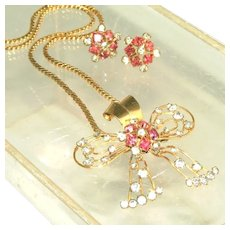 Vintage Signed M&S Pink & Diamante Rhinestone Retro Modern 12k Gold Filled Pin & Pendant, Earring Set