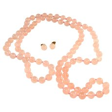 "Rose Quartz Hand Knotted Beads 36"" Necklace & Pierced Earrings Vintage Set"