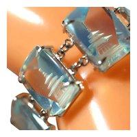 Vintage Sterling Silver Blue Glass Reverse Carved Pagoda Link Bracelet