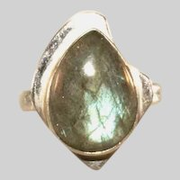 Sterling Silver Labradorite Vintage Abstract Ring, Size 9