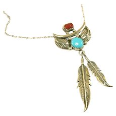 Native American Navajo Sterling Silver, Coral & Turquoise Double Feather Unisex Pendant Necklace, Eddie Secatero, Signed & Marked