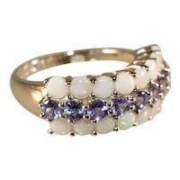 Opal & Tanzanite Sterling Silver Wide Band Ring, Size 8