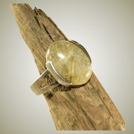 Golden Rutilated Quartz Vintage Sterling Silver Ring, Size
