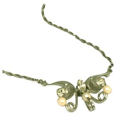 Sorrento Style Sterling Silver Pearls & Stones D'Abros Signed Vintage Necklace