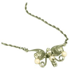 Sorrento Style Sterling Silver Pearls & Stones D'Abros Signed Vintage Butterfly Necklace