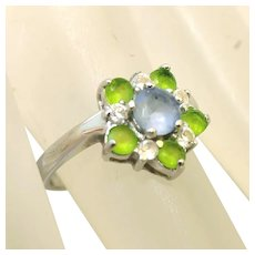 Chalcedony, Peridot & White Topaz Sterling Silver Vintage Flower Top Ring, Size 5
