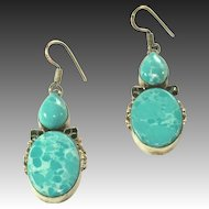 "Vintage Large Sterling Silver Larimar Pierced Earrings, 1 ¾"" Without Wires"
