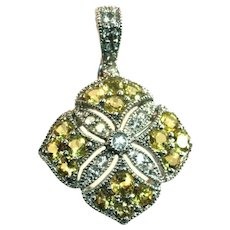 Sterling Silver Art Deco Style Yellow Faux Diamonds Sparkling Cut Work Pendant, Enhancer