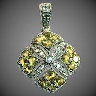 Sterling Silver Yellow Faux Diamonds Sparkling Cut Work Pendant, Enhancer