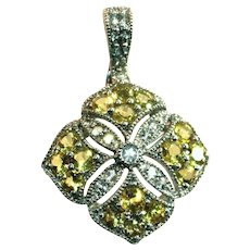 Sterling Silver Yellow Faux Diamonds Sparkling Cut Work Pendant, Enhancer