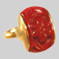 Sarah Coventry Vintage Carved Cinnabar Adjustable Ring