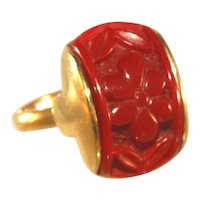 Sarah Coventry Vintage Carved Cinnabar Adjustable Ring