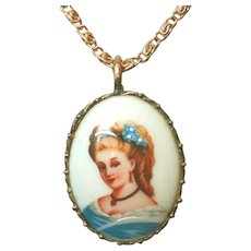 Vintage Limoges France Signed Hand Embellished Portrait Pendant on Chain Necklace