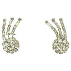 Kramer Signed Shooting Star Rhinestone Vintage Clip Earrings