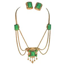 Etruscan Revival Tombac Brass & Peking Glass Vintage Festoon Necklace & Clip Earrings Set