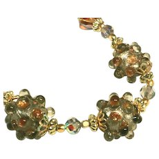 Old Vintage Sputnik Glass Beads & Amber Aurora Borealis Beads Necklace