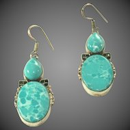 """Vintage Large Sterling Silver Larimar Pierced Earrings, 1 ¾"""" Without Wires"""