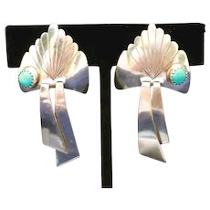 Sterling Silver & Turquoise Southwest Style Signed STERLING Vintage Clip Earrings