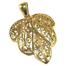 Gold Leaf TAOR Italian Vermeil Sterling Silver Large Pendant with Large Bail 1 ¾""